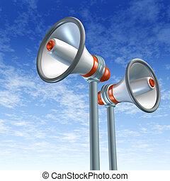 Bullhorn and megaphone