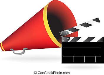 Bullhorn Clapboard Set isolated on a white background.