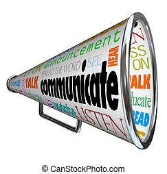 bullhorn, komunikować, megafon, rozpostarty, słowo