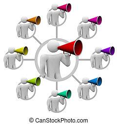 bullhorn, pessoas, espalhar, a, palavra, em, comunicação,...