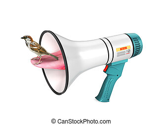Bullhorn. The sparrow sits on the tongue which is pushed out...