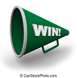 A green bullhorn with the word win on the side of it