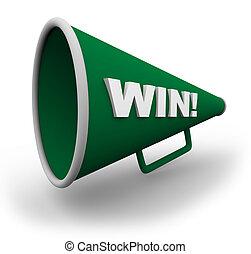 Bullhorn - Win - A green bullhorn with the word win on the...