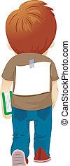 Bullied Boy - Illustration of a Bullied Boy with a Paper...