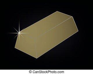 Bullion - Gold bar 3D vector against black background
