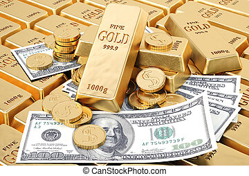 bullion - gold bars, gold coins and paper money.