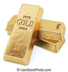 bullion - golden bars. Isolated on white.