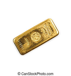 bullion of gold on the white background