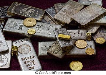 bullion, prata, ouro