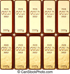 bullion - rows of gold bars.