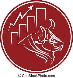 bullish market trend sticker - bull and growing stock market...