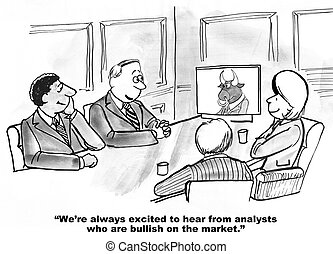 Bullish on Company - Business cartoon about a stock broker...