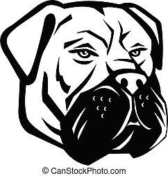 Bullmastiff Dog Head Mascot Black and White