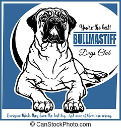 Bullmastiff - vector illustration for t-shirt, logo and template badges