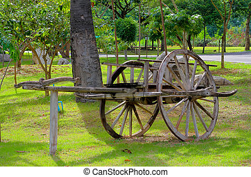 bullock cart in the garden