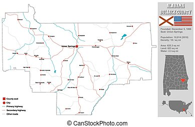 Bullock County Map in Alabama