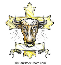 Bullock Head Christian Cross - Illustration of a bull ox...