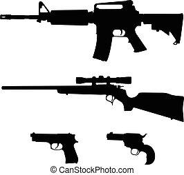 bullone, silhouette, vettore, fucile, stile, fucile, semiautomatica, pistole, ar-15, azione