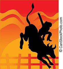 Bullrider - Man riding a bull with a sunset