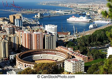Bullring and port, Malaga, Spain. - Elevated view of the ...