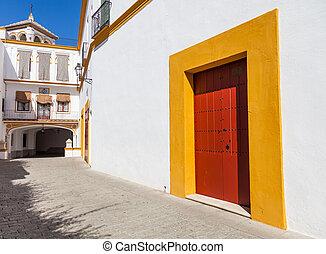 Bullring area in Seville - Detail of Plaza de Toros area in...