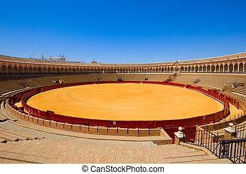 bullring arena in Seville, Spain - bullring arena, plaza de...