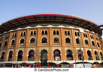 Bullring Arenas on Spain Square. Barcelona, Catalonia, Spain. Plaza de Toros de las Arenas, in Spanish. Of traditional neo-Mudejar style. New shopping center in Barcelona. Inside is a museum of rock and roll. Opened in June 1900.
