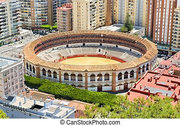Bullring fight arena in Málaga, Andalusia, Spain.