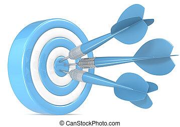 Bulls Eye. - Blue and white Dart Board with 3 blue dart...