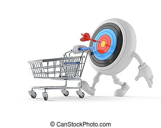 Bull's eye character with shopping cart