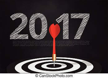 bull's eye hit the target on dartboard with number 2017