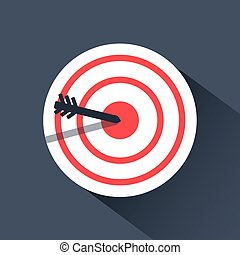 Bulls eye icon. archery flat infographic design.