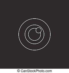 Bulls eye icon vector, target solid logo illustration, pictogram isolated on black