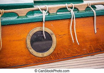 bulls eye of a sailing boat