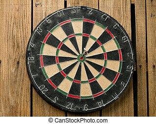 bulls eye pin on the dart board