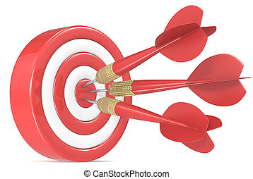 Bulls Eye. - Red and white Dart Board with 3 red dart...
