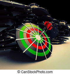 Bulls eye Target Dart Shows Successful Business Performance