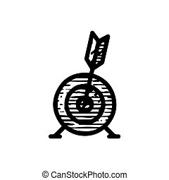 bulls eye target icon hand drawn vector illustration isolated on white background
