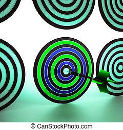 Bulls eye Target Shows Focused Precision Shot