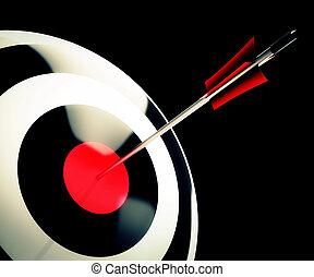 Bulls eye Target Shows Successful Winning Perfect Aim -...