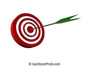 bull's eye target with arrow 3D render