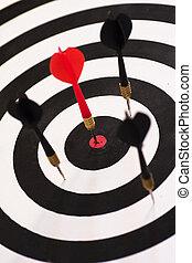 Bull\\\'s Eye - The red dart smack in the center of the...