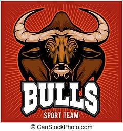 Bulls Mascot Illustration - Bulls Head Mascot - Sport team -...