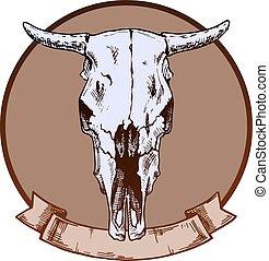 bulls skull - Vector illustration of cow skull stylized as...