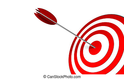 Bullseye - 3D Render. Arrow on target. Concept: Success, ...