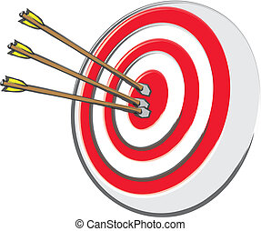 Bullseye And Arrows - An archery target with three arrows at...