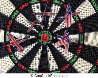 Bullseye darts dartboard with american and britain flag