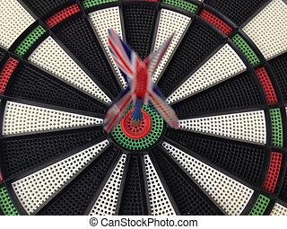 Bullseye darts dartboard with britain flag