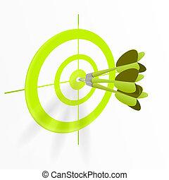 bullseye, mehrfach, dartpfeile
