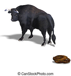 3D rendering of a Bull and his pile with clipping path and shadow over white